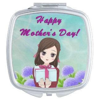 Espejo Compacto Presente feliz del día de madre (personalizable)