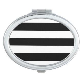 Espejo compacto rayado blanco y negro