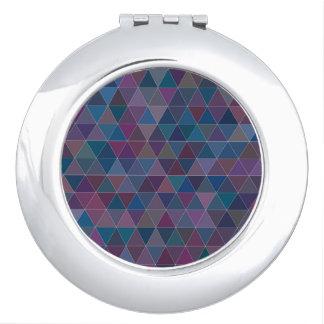 Espejo compacto redondo del triángulo púrpura