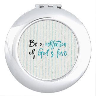 Espejo Compacto Reflexión de la cita del amor de dios