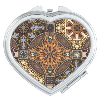Espejo Compacto Remiendo del vintage con los elementos florales de