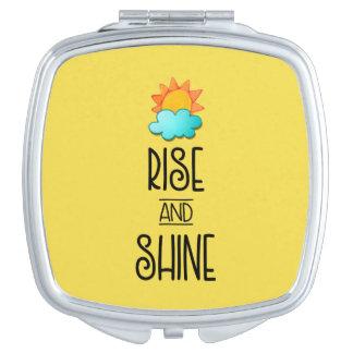 Espejo Compacto Tipografía de la subida y del brillo con Sun y la