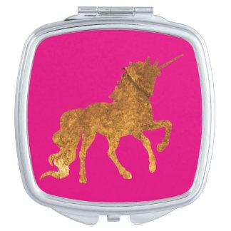 Espejo Compacto Unicornio Prancing de oro mágico en final