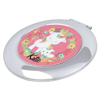 Espejo Compacto Unicornios lindos y floral personalizados