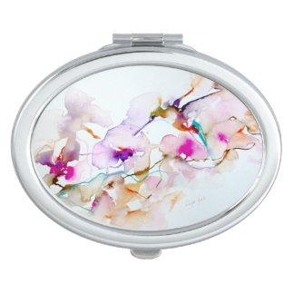 Espejo Compacto Vision en la impresión rosada del colibrí
