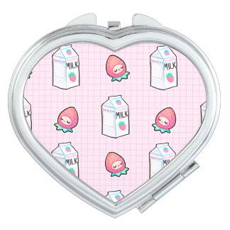 Espejo de la leche de la fresa espejo para el bolso