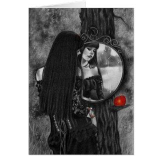 Espejo de la tarjeta roja del chica de la fantasía