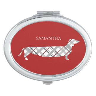 Espejo De Maquillaje Dachshund de la tela escocesa en rojo