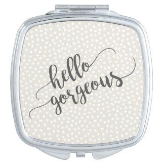 Espejo De Maquillaje El confeti caprichoso puntea hola magnífico