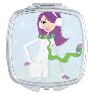 Espejo de plata con el chica del invierno espejos de maquillaje
