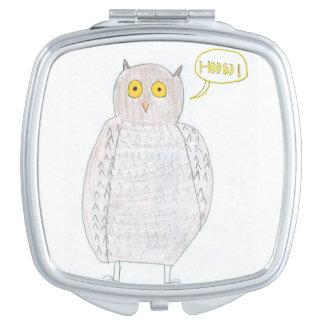 Espejo emocionado del búho espejo compacto