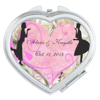 Espejo lesbiano del acuerdo del favor del boda del espejos para el bolso