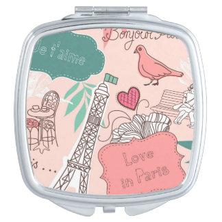 Espejo Maquillaje Amor en rosa del modelo de París