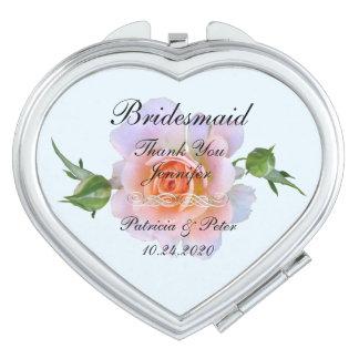 Espejo Maquillaje Dama de honor personalizada floral