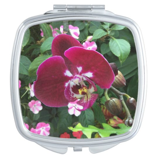 Espejo Maquillaje Espejo rojo del acuerdo de la orquídea