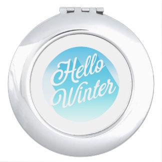 Espejo Maquillaje Lunar azul y del blanco hola del invierno
