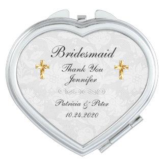 Espejo Para El Bolso Cruz personalizada de la dama de honor
