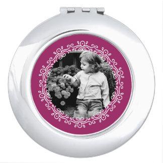 Espejo Para El Bolso Foto del personalizado del marco de los remolinos