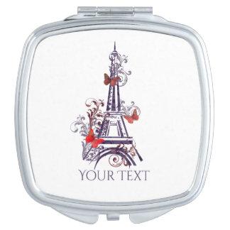 Espejo púrpura de las mariposas de la torre Eiffel Espejo De Maquillaje