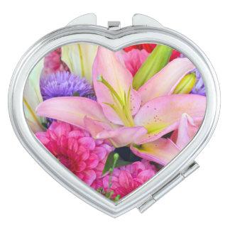 Espejo rosado del acuerdo del estampado de flores espejo de maquillaje