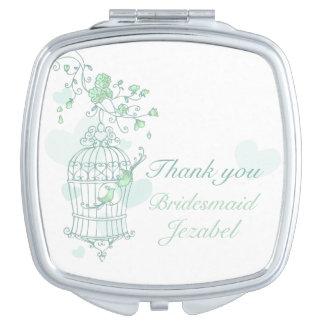 Espejo verde de la dama de honor del favor del espejo para el bolso