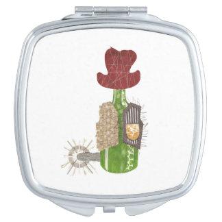 Espejos Compactos Espejo del acuerdo del vaquero de la botella