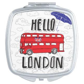 Espejos Compactos Hola muestra indicada con letras de la mano de