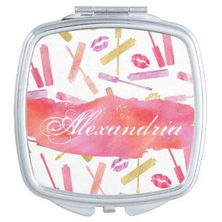Espejos Compactos Lustres de los lápices labiales y espejo del