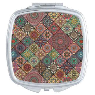Espejos Compactos Remiendo del vintage con los elementos florales de