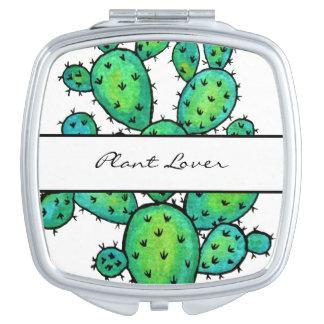 Espejos De Maquillaje Cactus espinoso de la acuarela magnífica