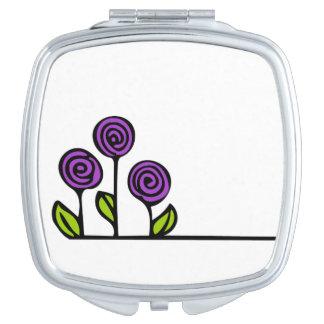 Espejos De Maquillaje Espejo púrpura del cosmético de la flor