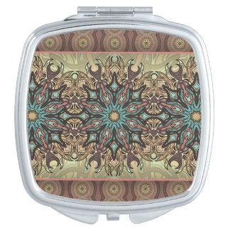 Espejos De Viaje Modelo floral étnico abstracto colorido de la