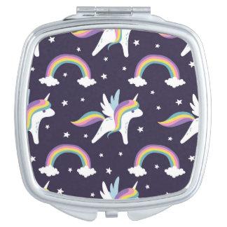 Espejos compactos unicornio del kawaii - Espejo de viaje ...