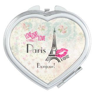 Espejos Maquillaje Amor París con la torre Eiffel en modelo del