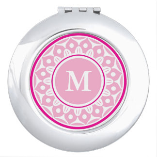 Espejos Maquillaje Estampado de flores   rosado con monograma