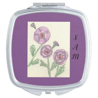Espejos Maquillaje Flores púrpuras simples