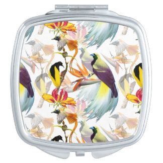 Espejos Para El Bolso Acuarela exótica de las aves del paraíso y de las