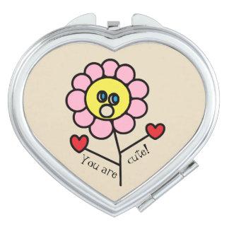 Espejos Para El Bolso Dibujo rosado infantil lindo de la flor
