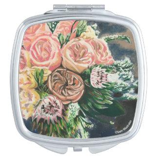 Espejos Para El Bolso Espejo del acuerdo del cuadrado del ramo floral