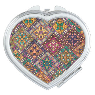 Espejos Para El Bolso Remiendo del vintage con los elementos florales de