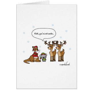 Espera divertida usted no es tarjeta de Navidad de