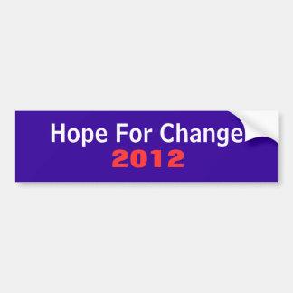 Esperanza del cambio 2012 pegatina para coche
