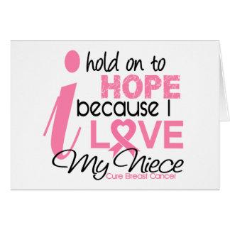 Esperanza del cáncer de pecho de mi sobrina tarjeta de felicitación