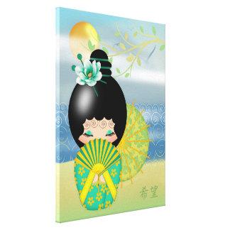 Esperanza, muñeca de Kokeshi Impresión En Lona Estirada