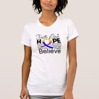 Esperanza tipográfica del amor de la fe del cáncer camiseta