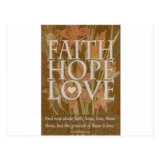 Esperanza y amor de la fe tarjetas postales