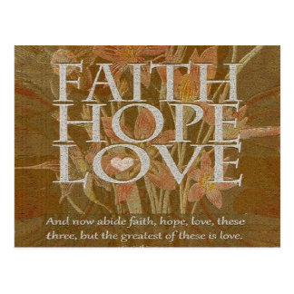 Esperanza y amor de la fe tarjeta postal