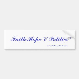 Esperanza y política de la fe pegatina de parachoque