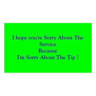 Espero que usted lo sienta sobre el tarjetas de visita
