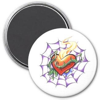 Espina del corazón y tatuaje frescos del Web de Imán Redondo 7 Cm